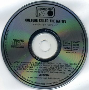 Victory - Culture Killed The Native 1989