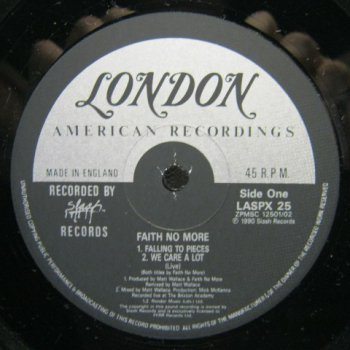 Faith No More- Falling To Pieces Vinyl Single 24/192-45Rpm  (1990)