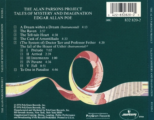 The Alan Parsons Project - Tales of Mystery and Imagination : Adgar Allan Poe (1976/ 1987)