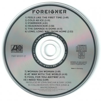 Foreigner - Foreigner - 1977 (non-remastered, Germany 81511-2)