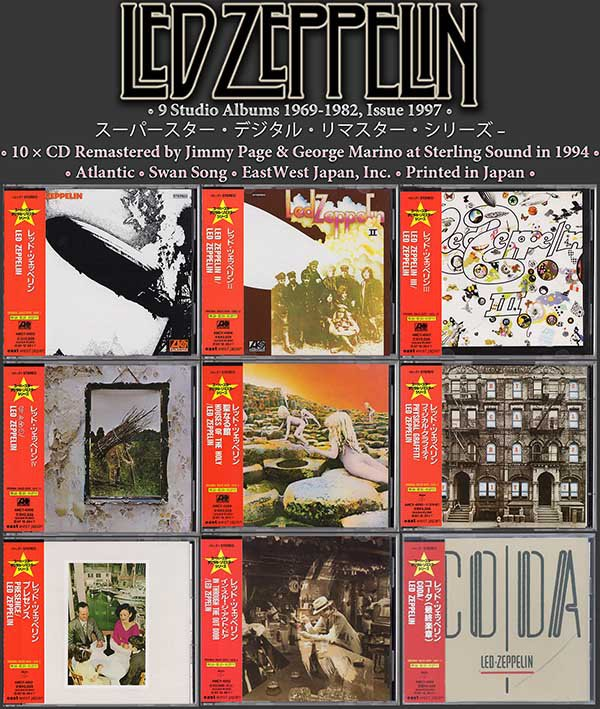 LED ZEPPELIN «Complete Re-masters 1994» (10 x CD • East West Japan, Tokyo • Issue 1997)