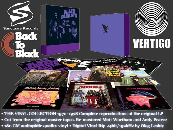 BLACK SABBATH - The Vinyl Collection 1970-1978 (9 x LP + EP • Sanctuary Records Group, Ltd. • 2012)