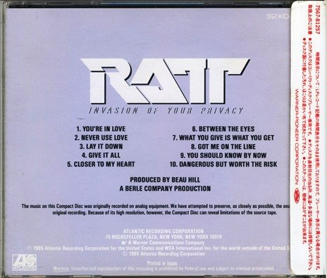 Ratt - Invasion Of Your Privacy (1985) [Japan Press]